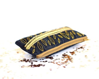 Gold Metallic Zipper Pouch, Hand Embroidered Denim Cotton Cosmetic Bag, Sequin Clutch, Bohemian Accessories
