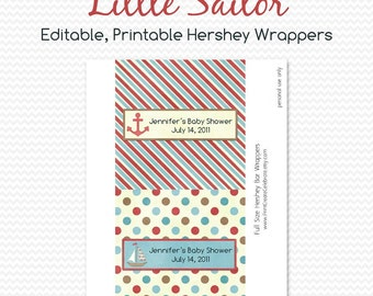 Nautical Baby Shower Favor, Candy Bar Wrapper, Chocolate Bar Label, Birthday Party Favor, Sailboat  -- Editable, Printable, Instant Download