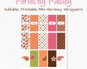 Paisley Party Favor, Mini Candy Wrapper, Candy Bar Label, Chocolate Bar Label, Summer Birthday Party, Bridal Shower  - Editable, Printable
