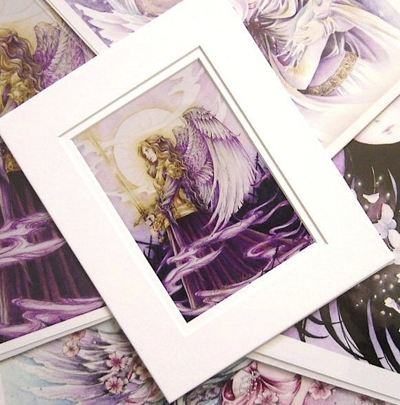 "Angel Art 8x10 MATTED Print ""Golden Warrior"" Fantasy Art"