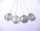 Etsy monogram necklace wax seal pendant personalized initial made from recycled silver in any letter of the alphabet