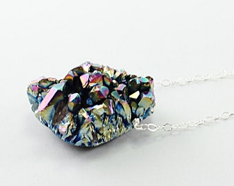 Silver druzy necklace: rainbow drusy necklace, amethyst titanium druzy jewelry, sterling silver chain shiny stone necklace