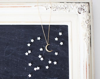 Crescent Moon Crystal Pave Necklace - gold crescent with sparkling cubic zirconia pave moon