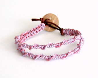 Macrame Friendship Bracelet in Pastels and Button Clasp - Jacky Bracelet