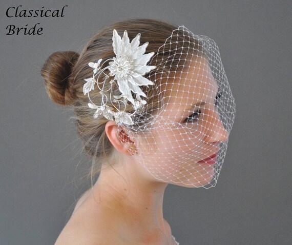 "Bandeau 75 -- Veil Set w/ SILVER RHINESTONE FLOWER Hair Comb & Ivory or White 9"" Birdcage Blusher for wedding bridal accessory"
