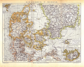 Authentic Vintage Map of Denmark and Sweden 1920s