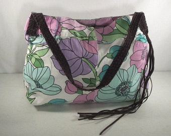 Purple Floral Cotton Skirt Tote Bag with Suede Strap, Upcycled Ann Taylor LOFT Skirt