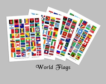 World Flags / 1x1 Inch Squares / 192 Countries / Four 8.5x11 Digital Collage Sheets / For Jewelry, Magnets / Instant download