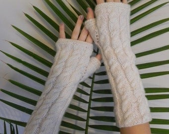White Fingerless Gloves,  Wool Arm Warmers, Hand Knitted Winter Gloves,Eco Friendly