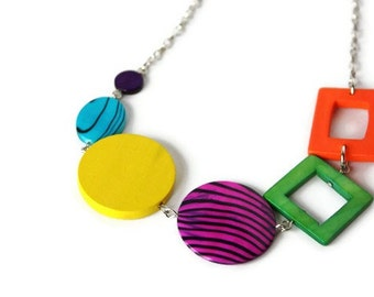 Chunky Rainbow Necklace with Shell and Wood Beads in Bright Colors, Perfect for Back to School