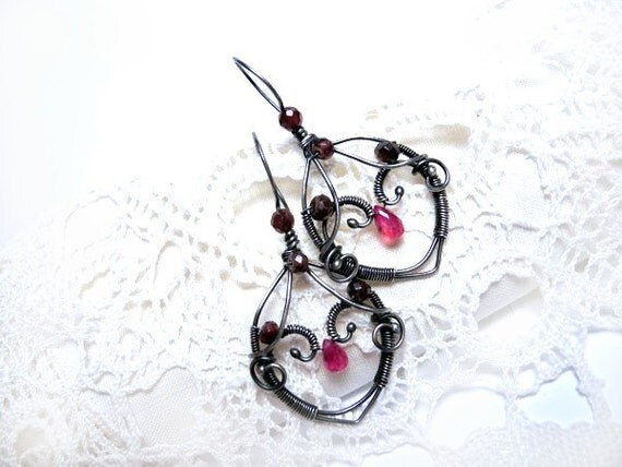Silver Arrow Earrings - Ruby and Garnet Gemstones - Wire wrapped Silver - Burgundy Oxblood Fuchsia - Romantic and Unique
