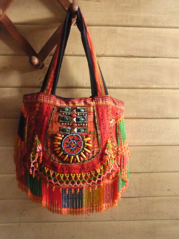 Hippie Fringe Purse Bag Tribal Ethnic Embroidery Bag