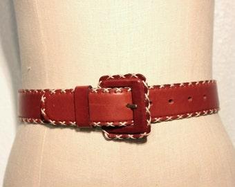 vintage stitched brown leather belt // square buckle