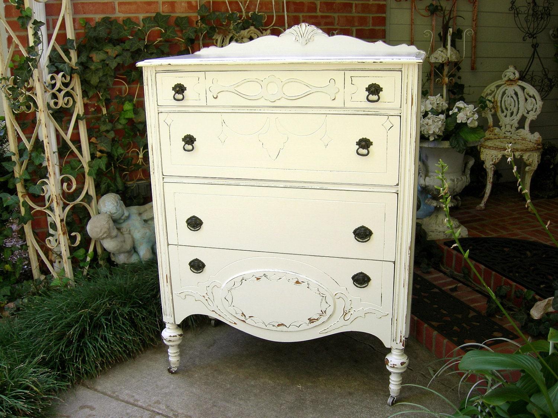 Antique Highboy Dresser Chest Wood Bedroom Furniture Shabby