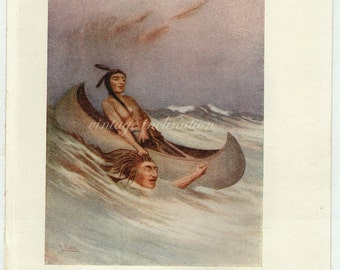 Antique Print, Native American Indian Man in canoe, 1914, beautiful wall art vintage illustration feathers