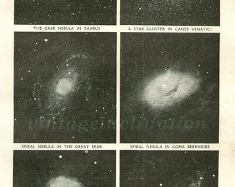 Notable Sights In The Heavens, 1930 astronomy space star chart print planets, solar system, universe, space illustration print