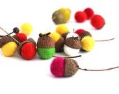 Wool Felted Acorns Ornaments . Home Acorns Decoration . Set of 12 .