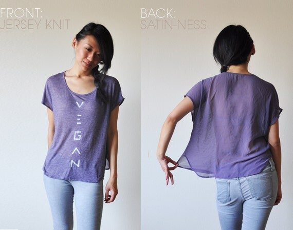 Vegan Clothing: Purple Split-Fabric Top (Size M )
