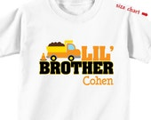 Dumptruck Little Brother Shirt or Bodysuit - Personalized Little Brother Gift - Dump truck Birthday Shirt - Construction Birthday Shirt