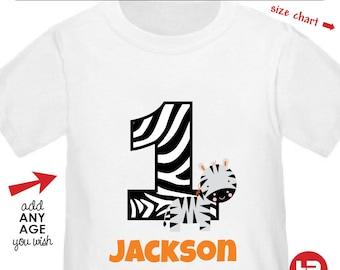 Zebra 1st Birthday Shirt or bodysuit - zoo birthday  Personalized with Child's Name & Age
