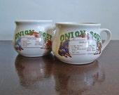 10% off SALE--pair of vintage 1970s ceramic Onion Soup recipe mugs