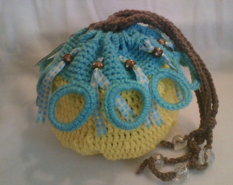 Drawstring Bag/Basket, Yellow & Turquois with Beads, Crystals (Crocheted)