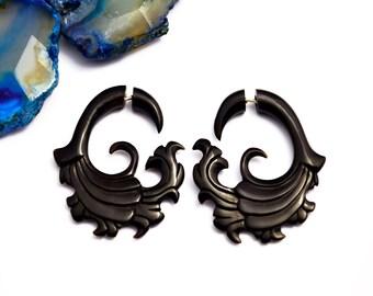 Fake Gauge Earrings Black Horn Tribal Wave Cloud Spirals Earrings - Gauges Plugs Bone - FG041 H