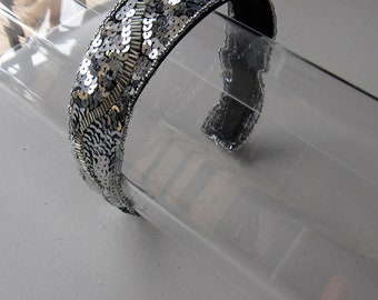 Silver Sequin Beaded Headband, for weddings, parties, evening, special occasions