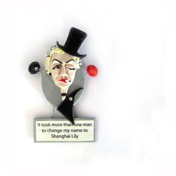 Marlene Dietrich Polymer Clay Brooch - ready to ship
