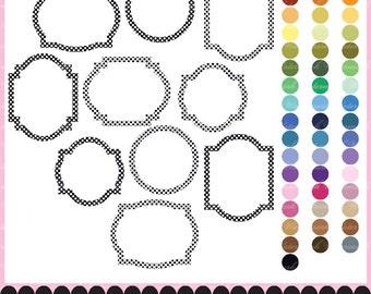 Frame clip art polka dot baby digital frame boy or girl clip art polka clipart frame photo : e0156  v301 black