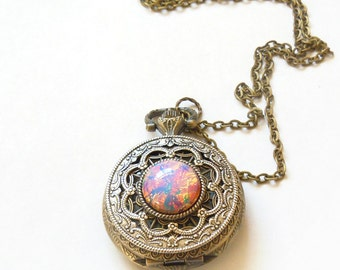 Pocket watch Locket style necklace Pink  Fire Opal Pocket watch  Necklace--Mother's Day gift --gift for her-watch  necklace Valentines day