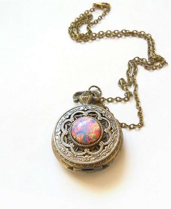 Pocket watch locket style necklace pink fire opal pocket aloadofball Image collections