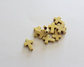 SALE Cross Beads Yellow Howlite Turquoise 16x12mm 10pcs Ships IMMEDIATELY -  B781