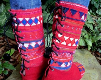 Tribal Appliqué on Red Mid Calf Lace Up Vegan Womens Boots In Akha Primary - Katiyana