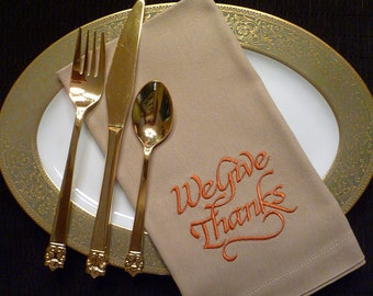 Set of 6 Cloth Cotton Embroidered Dinner Napkins-THANKSGIVING