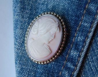 Cameo Brooch Pin Pink Cameo Pin Handmade Classic Jewelry Artisan Jewelry Pink Cameo Jewelry