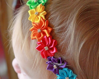 The Prism Effect Rainbow Flower Headband - Little Girl's Satin Flower Rainbow Headband - Baby Girl Rhinestone Rainbow Birthday Hair Bow
