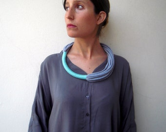 The funky necklace - handmade in aquamarine and grey jersey fabric