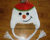 Snowman Hat Pattern - Crochet Pattern 10 - Beanie and Earflap Pattern - us and uk Terms Available - Newborn to Adult - INSTANT DOWNLOAD