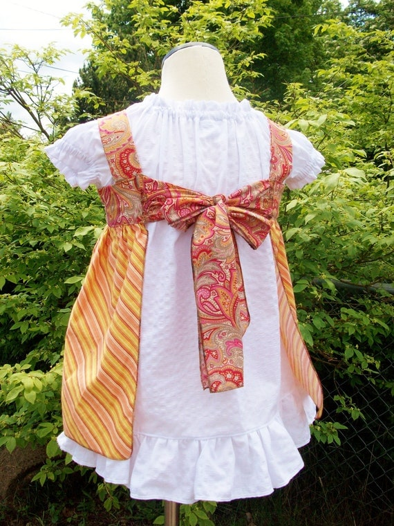 Knot Top Pinafore Dress in yummy orange 6-12m