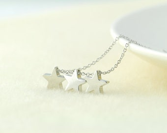 Silver Star Necklace. Triple Star Necklace. My Lucky Star. Shooting Star. Wish Upon a Star Necklace. Three Wishes.