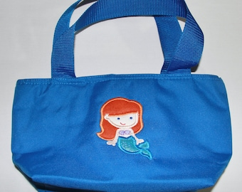 Lunch Bag Personalized Purse for a Girl with Cutie Princess as Little Mermaid Applique, Zip Main Compartment, and One Side Pocket