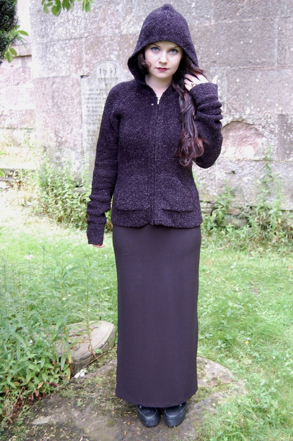 90s Grunge Goth Black Chunky Knit Fuzzy Glitter Hoody Sweater S