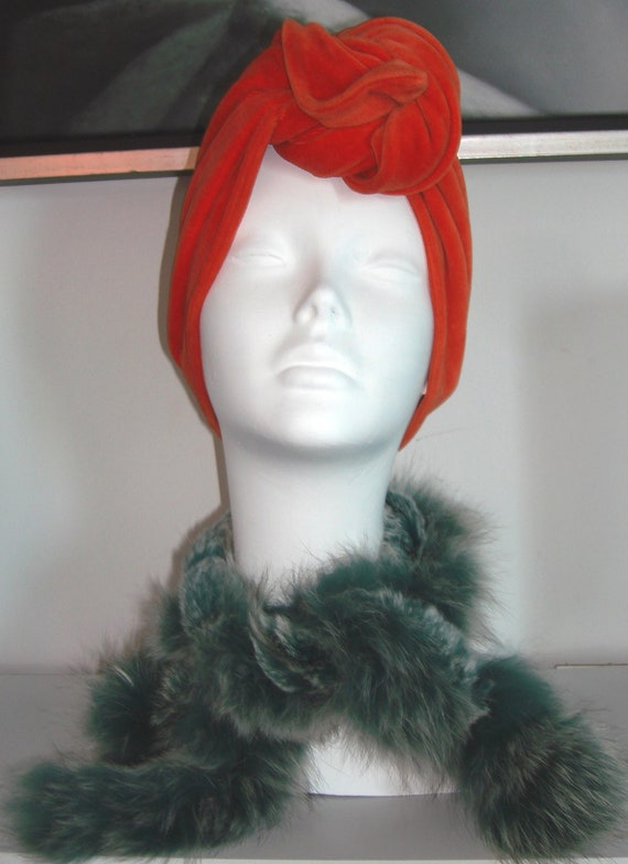 Vintage women Fur green Rabbit and Fox scarf retro warm and so soft FREE SHIPPING