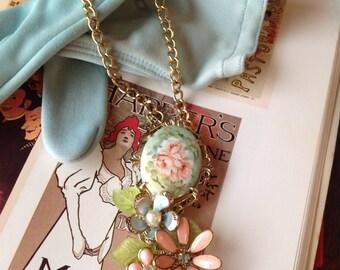 Layered Handmade Enamel Pearl Rose Portrait Pendant Necklace
