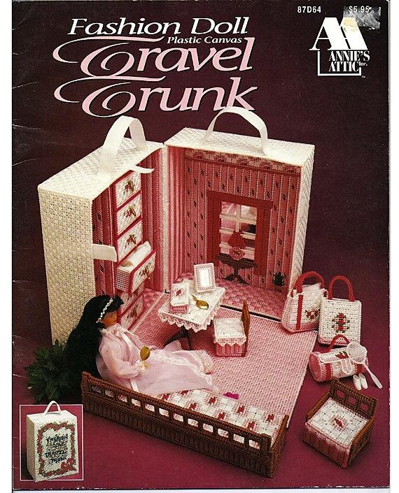 Fashion doll travel trunk plastic canvas pattern annies attic 87d64