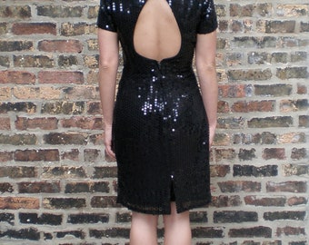 Vintage Black Sequin Cocktail Dress - 80s Sparkly Sexy Open Back Party Dress - Sm