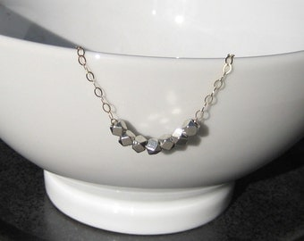 Two Tone Silver Nuggets on Gold Fill Chain Necklace