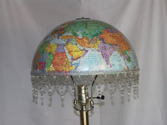 Vintage World Globe Lampshade, Blue with Colorful Land-masses. For Living  Room,