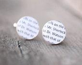 Sherlock Holmes cufflinks - Father's Day Gifts - Sherlock Holmes jewelry - Sherlock Holmes book - Sherlocked - Book jewelry / CF02
